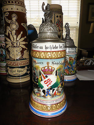 Antique German regimental military stein Infantry Regt Schleswig No 84 1899-1901