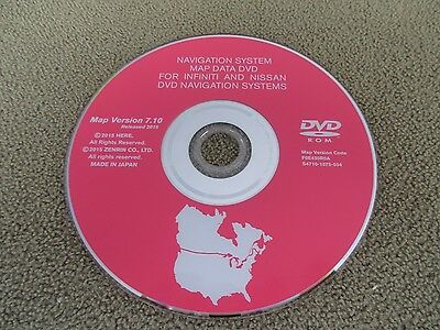 Nissan Infiniti Navigation Map Dvd Map Version 7.10  Released 2015 Factory Oem
