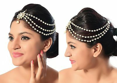 Ethnic Traditional Indian Pearl Polki  One Side Hair Accessory Matha Patti
