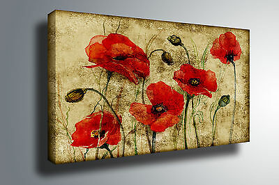 RED Poppy Flowers FLORAL Canvas Abstract Framed Picture Wall Hanging Art New