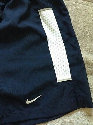 Nike, Dri-Fit, Large, Dark Blue with White, Athletic Running Shorts