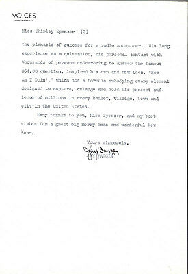 Jay Faggen - Typed Letter Signed 12/20/1941