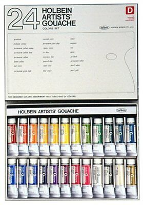 Holbein opaque watercolor gouache Designer's 24-color set G722 15ml 5 No.