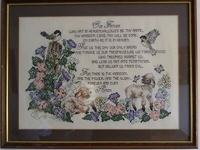Vintage The Lord's Prayer Embroidery Sampler