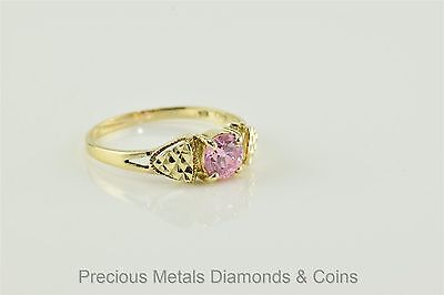 10k Yellow Gold 1ct Pink Solitaire Diamond Cut Accented Ring Sz: 9