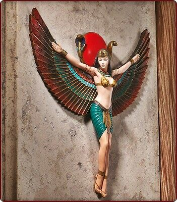 """ISIS"" Ancient Egypt Royal Goddess w/ 2 Serpents Ra Sun God Wall Sculpture"