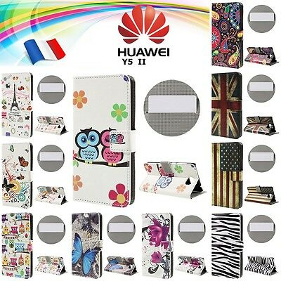 Etui porte cartes housse coque leather Case Cover protection Huawei Y5 II, Y5II