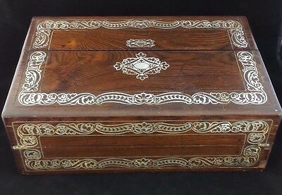 Great English Victorian 1880 Antique Portable Travel/Lap Desk, Brass & MOP Inlay