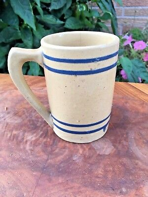 ANTIQUE 1920s MORTON POTTERY YELLOW WARE MUG Cobalt Stripes 100% BUCKEYE PURE