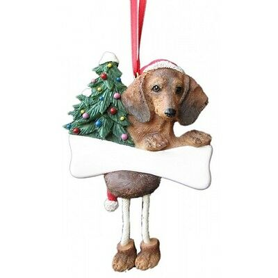 Dachshund Red Dangling Wobbly Leg Dog Bone Christmas Ornament
