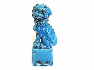 Vintage 1940's Turquoise Blue Chinese Foo Dog Statue 10""