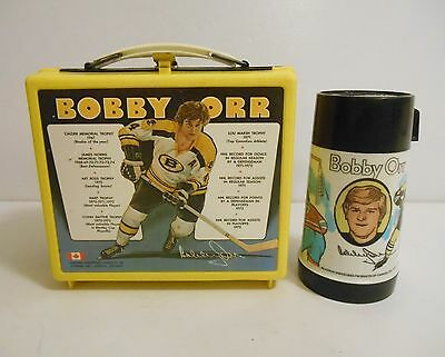 1972 Bobby Orr Rare Statistics Lunchbox Thermos & issued by Aladdin Canada !!!