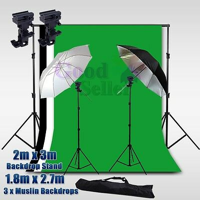 Photography Studio Umbrella Lighting Flash Speedlite Mount Kit 3 Backdrops Stand