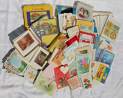 65+VTG NEW Greeting Assorted Cards Pre-50s & Up Christmas Birthday GetWell Notes