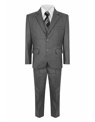 Boys 5 Piece Suit Grey Royal Blue Smart Outfit Jacket Trousers Shirt 1-15Years