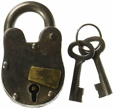 "3"" Antique Style Lock- Iron with Brass - Padlock and Keys, New, Free Shipping"