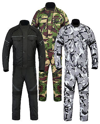 Mens Motorcycle Motorbike Waterproof Camo Jacket & Trousers Suit 2 Piece Set