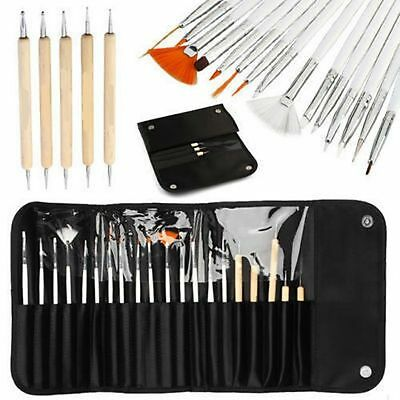 20Pcs Nail Art Design Brushes Set Dotting Painting Drawing Polish Pen Tools Kits