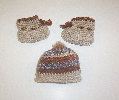 New Hand Crochet Brown Hat & Booties Set Cabbage Patch