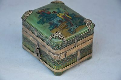 Exquisite Chinese Copper Inlay Porcelain  Handmade  Box,belle