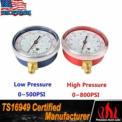 1 Pair Air Conditioner Refrigerant Low & High Pressure Gauge PSI R410A R134A R22