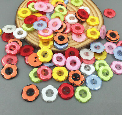 100pcs Round 2-holes Fit sewing or Scrapbooking craft Flowers Resin buttons 12mm