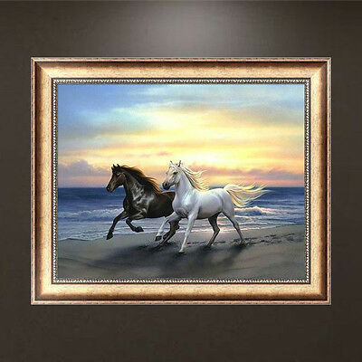 Animal DIY 5D Embroidery Diamond Two Horses Painting Cross Stitch Home Decor