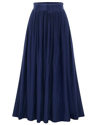 US Women's Retro Pleated Flared Stretchy High Waist Long Skirt Maxi Swing Dress