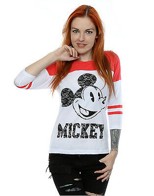 Disney Women's Mickey Mouse Laces 3/4 Sleeve Baseball Shirt