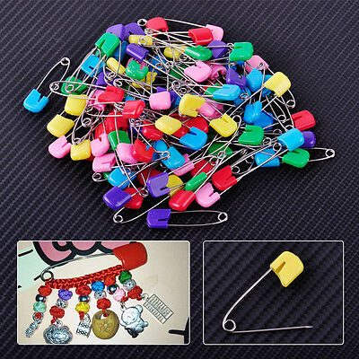 100pcs Plastic Head Safety Pins Locking Hold Clip Baby Dress Cloth Nappy Diaper