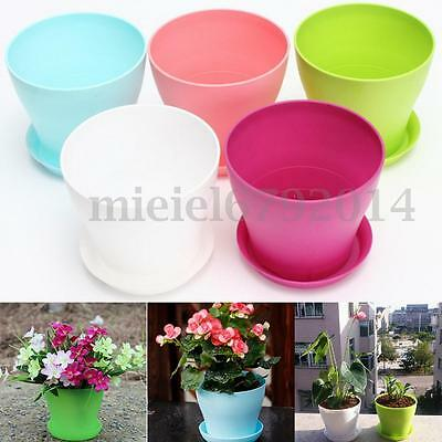 Plastic Plant Flower Pot Planter With Saucer Tray Round Gloss Home Garden Decor