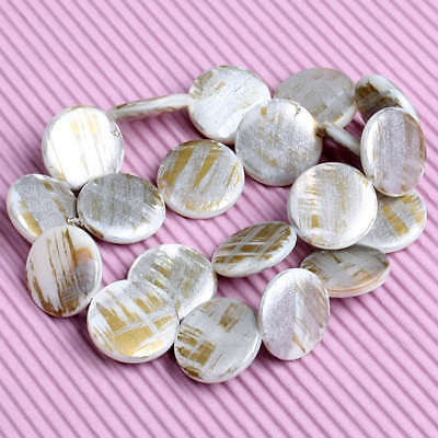 Mother Of Pearl Shell Coin Jewelry Loose Beads 1 Strand