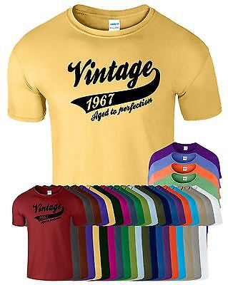 Vintage 1967 Mens T-Shirt Aged To Perfection Birthday Gift Present T Shirt Tee