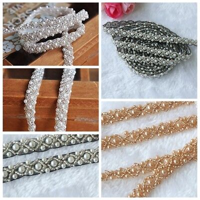 2 yard Pearl Beaded Trim, wedding Bridal Pearl Applique for DIY Bridal sash