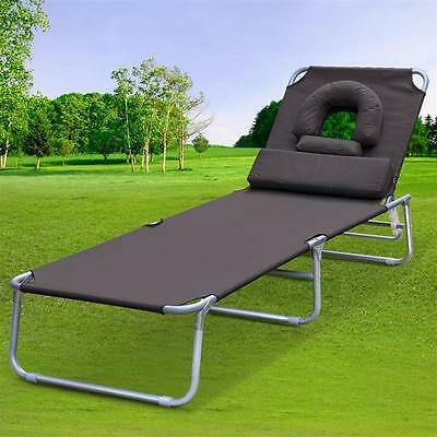 Sun Garden Lounger Bed Chairs Relaxer Recliner Chair Folding Adjustable Used B