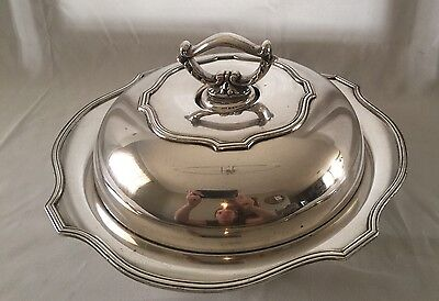 Sheffield Silverplate Covered Serving Bowl Dish with Removable Handle BEAUTIFUL!