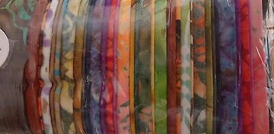 "Batik Rainbows Multi Tones 'jelly Roll' 40 X 2.5"" Strips Cotton Quilt Fabric"