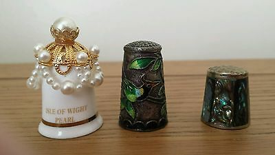 3 Pretty Collector Thimbles Abalone. Cloisonné Enamelled + Pearl Thimble