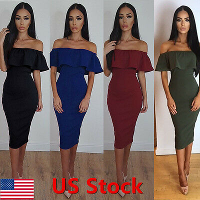 Fashion Women Off Shoulder Short Sleeve Bodycon Dress Evening Party Cocktail