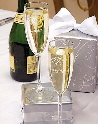 Personalised Wedding Linked Hearts Champagne Flutes Gift