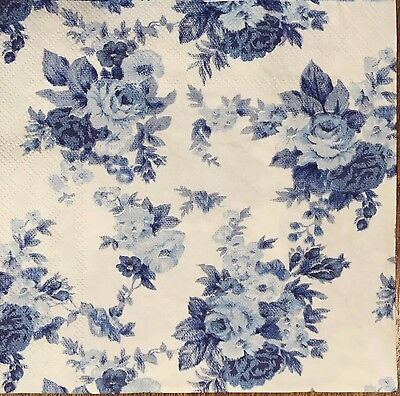 2 single paper napkins Decoupage Scrapbooking Collection Shabby Blue Flowers