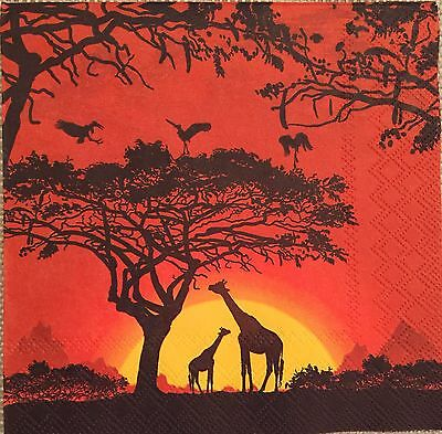 2 single paper napkins decoupage crafts collection Animals Birds Africa Sunset