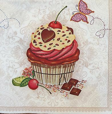 2 single paper napkins (cocktail size) for decoupage scrapbooking crafts Cupcake