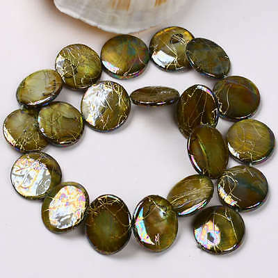 "20mm Mother Of Pearl Shell Disc Loose Beads 15.5""L"