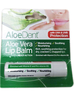 Aloe Dent Aloe Vera Lip Balm 4g with Tea Tree & Lysine - Solid Stick