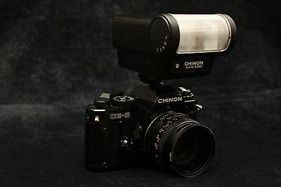 CHINON CE-5 35mm SLR CAMERA WITH F1.7 LENS and FLASH