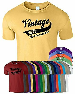 Vintage 1977 Aged To Perfection Mens T-Shirt Luke Birthday Present T Shirt Gift
