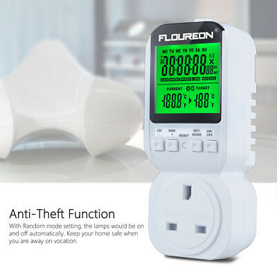 UK Plug-in Electricity Power Consumption Meter Energy Monitor Kwh Watt Analyzer