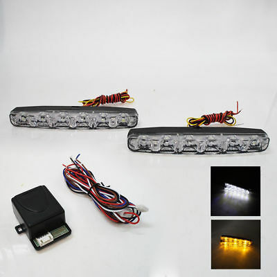 6''Led Daytime Running Lights Drl E-Marked Turn Signal Control Module Universal
