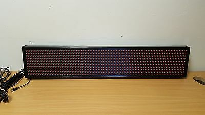LED SCROLLING PROGRAMMABLE MOVING MESSAGE SIGN BOARD 16 x 96 Used Free P&P